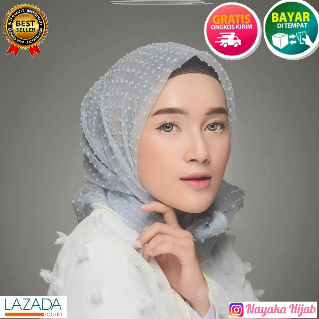 Kerudung Organza / Hijab Segi Empat Organza Dot / Kerudung Organza Dot Square Premium Murah
