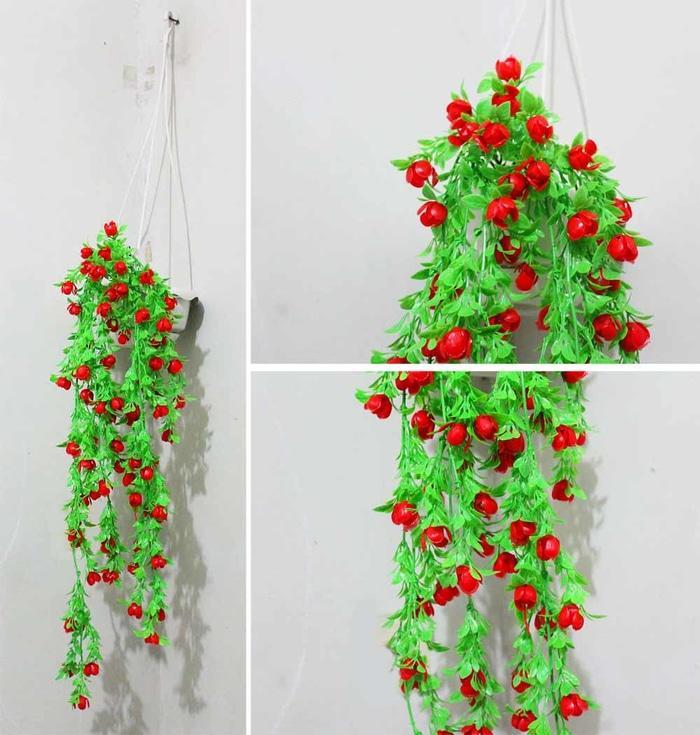 bunga plastik / bunga hias / bunga artificial + pot gantung merah red - DsPb60