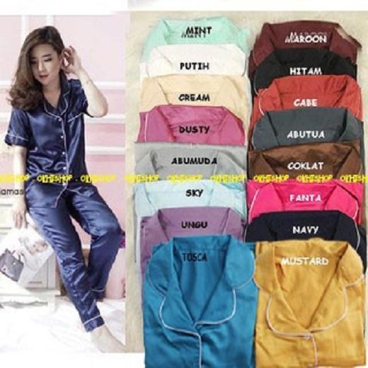 Piyama Pajamas Saten Sleepwear Setelan Baju Pendek Celana Panjang Satin Silky Velvet | Piama | Piyama | Baju Tidur | Pakaian Tidur | Daster