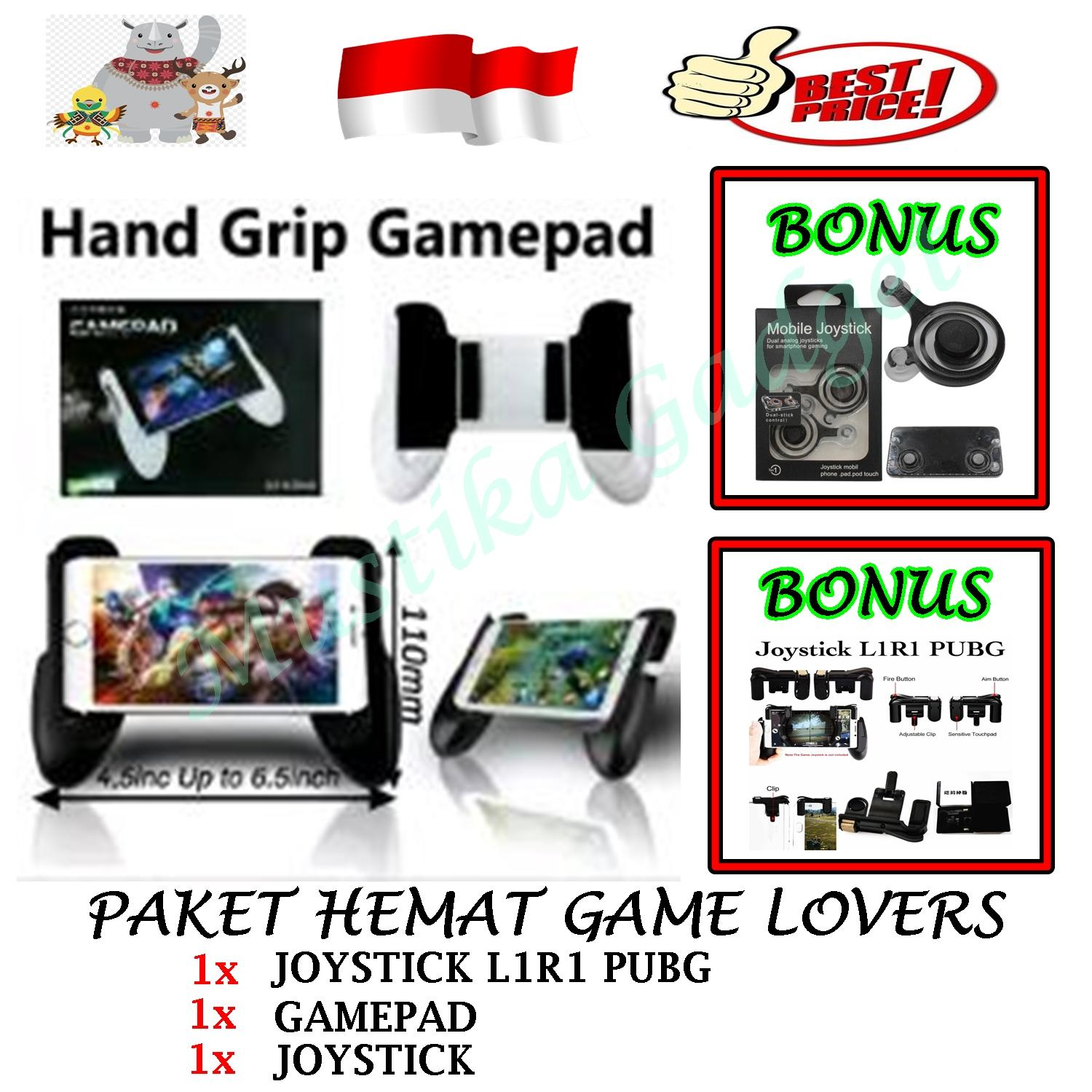 PAKET 3 IN 1 Gamepad Controller Joypad Handle Grip Android & IOS Universal for Mobile Legend