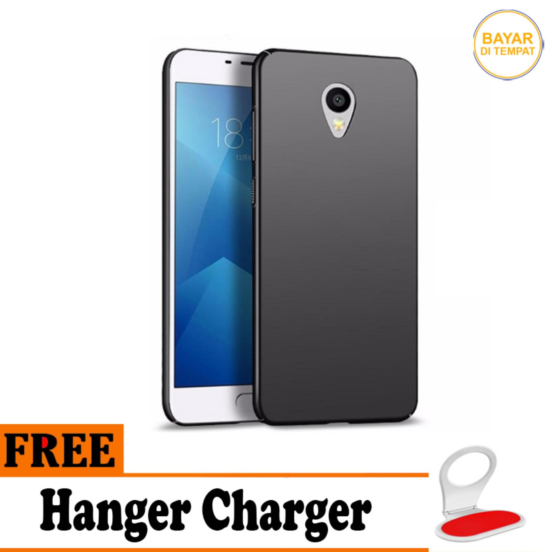 Casing Handphone / Softcase Anti Minyak Baby Skin Case Black Matte Ultra slim Untuk Meizu M5 - Free Hanger Charger
