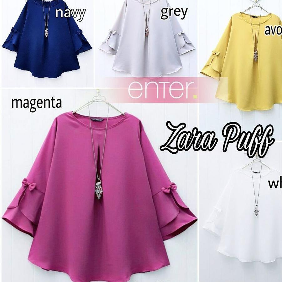 Baju Atasan Wanita Zara Puff Blouse Tunik Blus Muslim