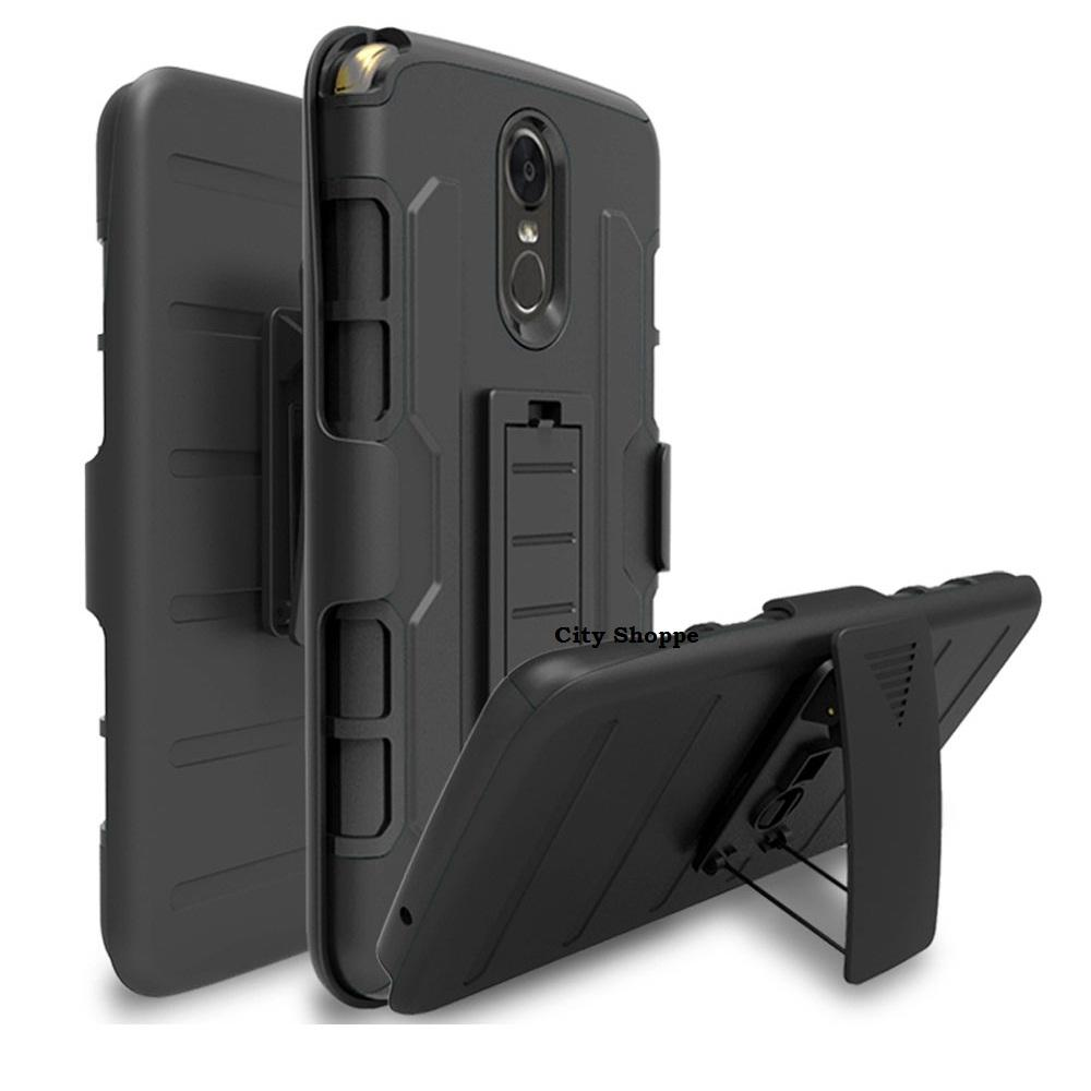 LG Stylus 3 / Stylo 3 Case Holster Slide Hybrid TPU + PC with Belt Clip (Black)