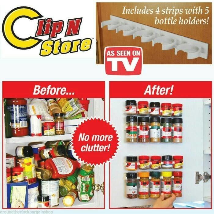 Harga Diskon!! Original Peralatan Dapur Modern Terkini Clip N Store U002F Rak Botol Bumbu - ready stock