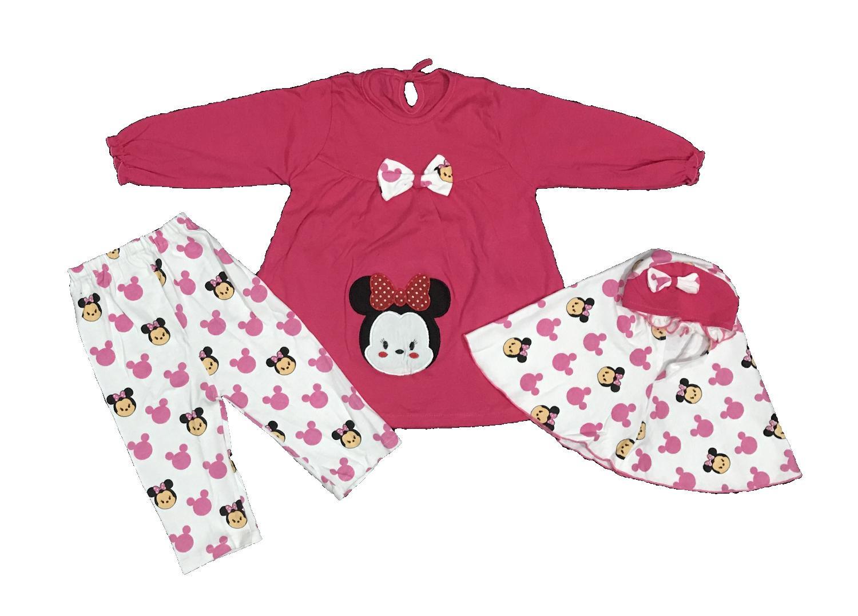 BAYIe - Setelan Baju Muslim Bayi/Anak Perempuan motif Tsum-Tsum / Gamis anak cewek umur 1.5 - 2.5 tahun