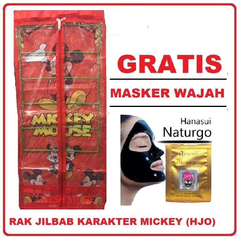 Rak Jilbab Gantung Karakter 6 Tingkat (GRATIS PROMO) Dompet/ Pouch Kosmetik/ Masker Wajah
