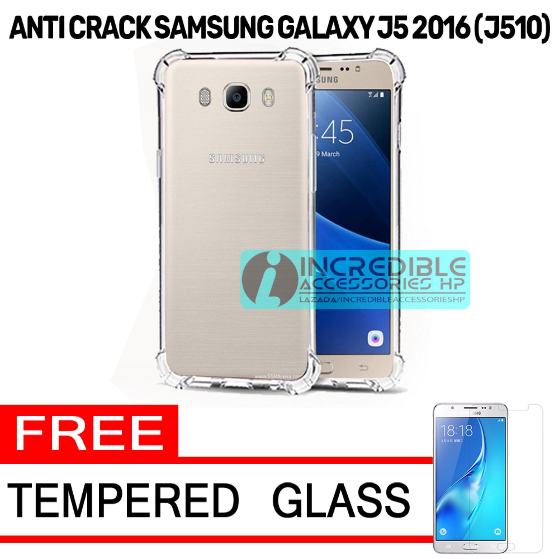 Case Anti Shock / Anti Crack Elegant Softcase  for Samsung Galaxy J5 2016 (J510) - White Clear + Free Tempered Glass