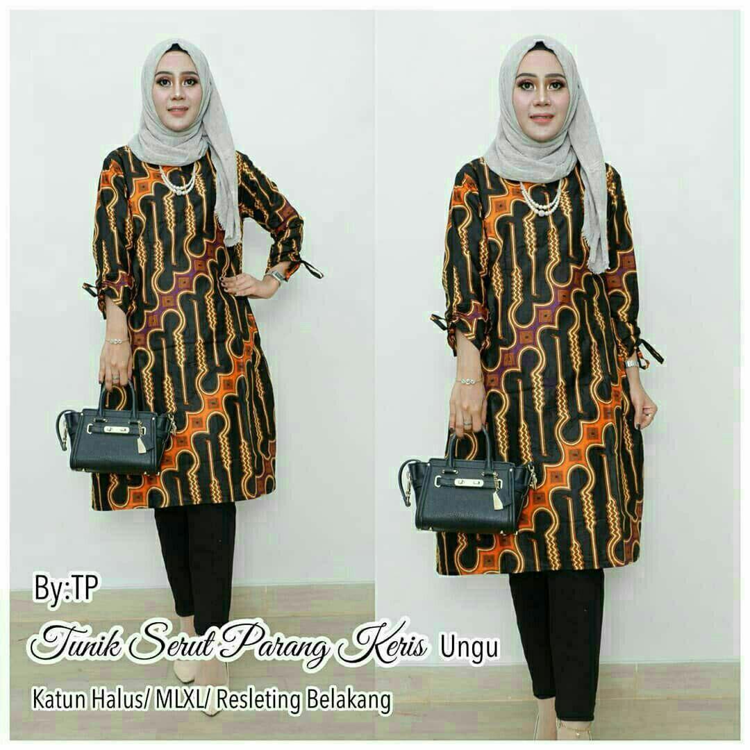 Tunik Batik Wanita Atasan Wanita Batik Seragam Guru Dress Batik Modern