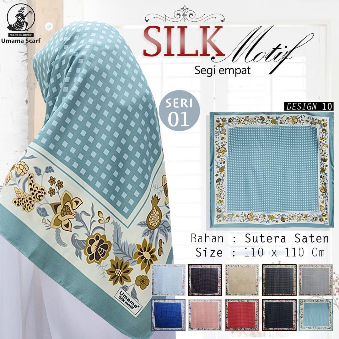 SILK MOTIF Umama Jilbab Satin Hijab Kerudung Segi Empat SegiEmpat Printed Motif Silk Sutera Satin