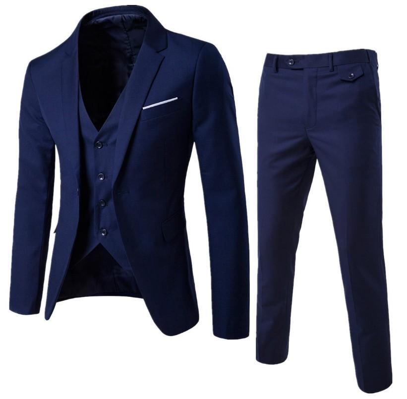 (Jaket + Celana + Vest) pria Tiga Potong Pakaian Celana Jas Setelan Profesional Pengantin Pria Formal Gaun Potongan Pas Badan Setelan Jas Karir Bisnis Perapi Workwear-Intl