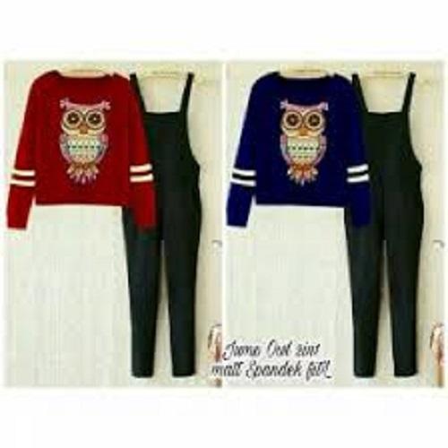 F Fashion Jumpsuit Wanita Owl + Gratis Kaos / Jamsuit Wanita / Jamsuit / Setelan Wanita / Celana Panjang Wanita / Baju Setelan / Kaos Bagus / Kaos Santai.
