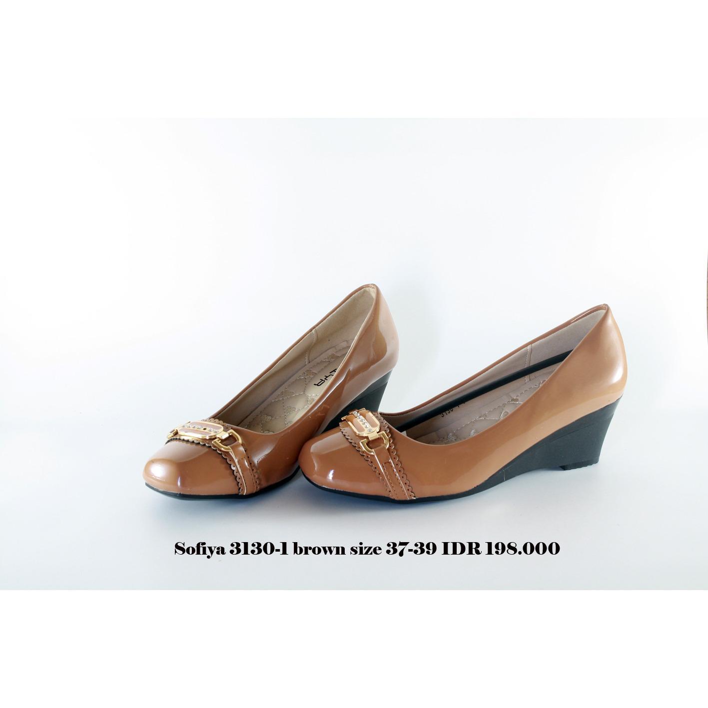 sofiya 3130-1 sepatu wedges wanita coklat