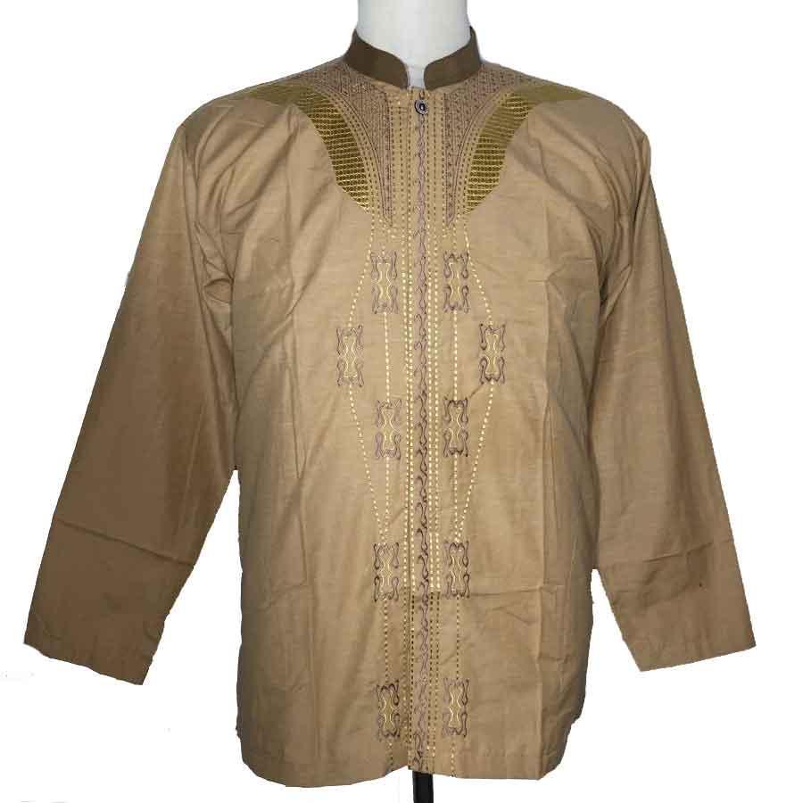 Grosiryogya Baju Koko Lengan Panjang Katun Premium Bordir-BK3206-Coklat