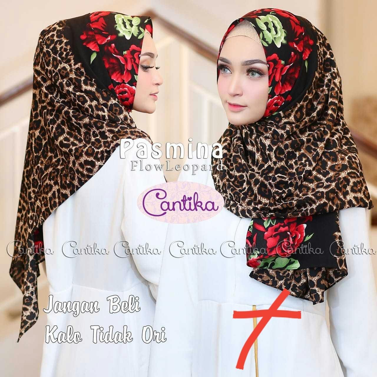 MOOIE - kerudung hijab jilbab pashmina motif leopard macan combi rose animal print