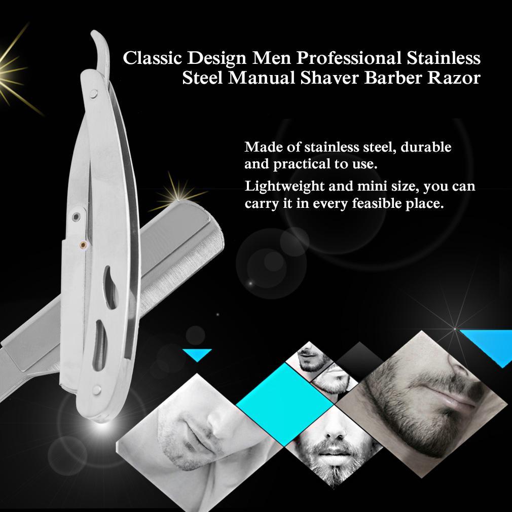Classic Design Men Professional Stainless Steel Manual Shaver Barber Razor