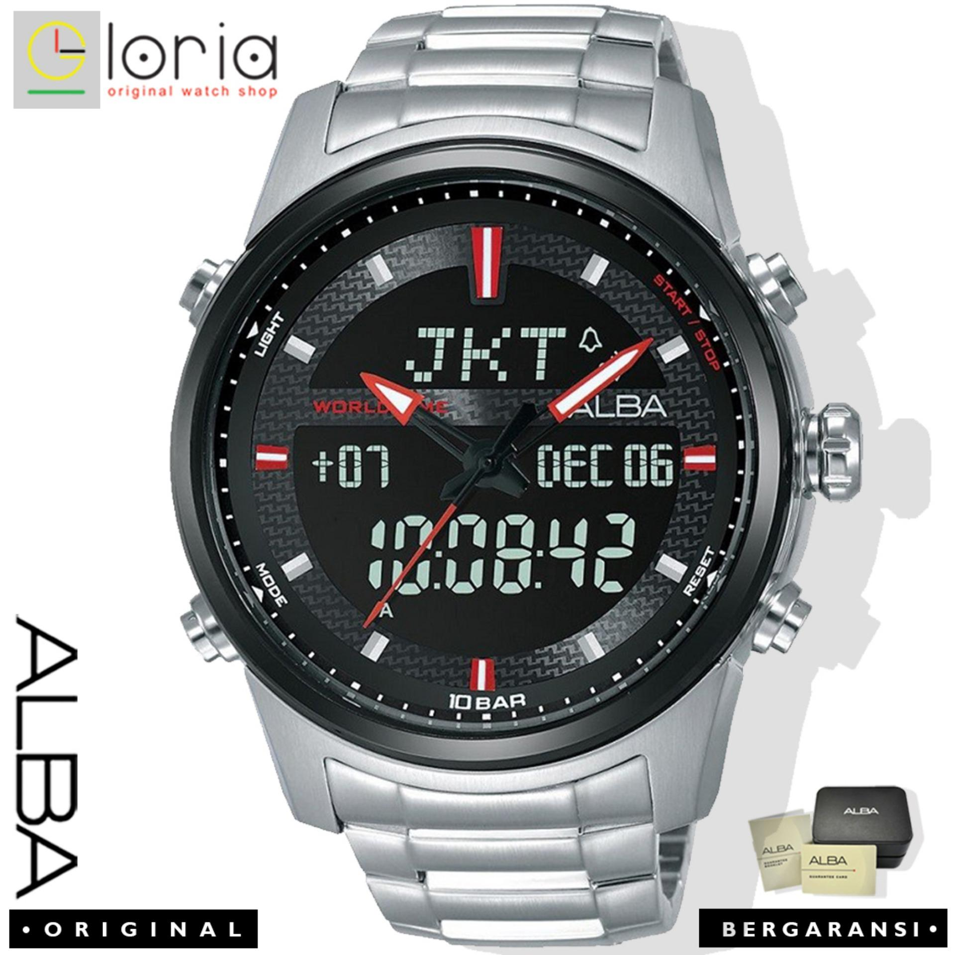 Alba AZ40 Series Jam Tangan Pria Dual Time Digital Analog Tali Stainless    Nylon   Kulit 2737fc0b28
