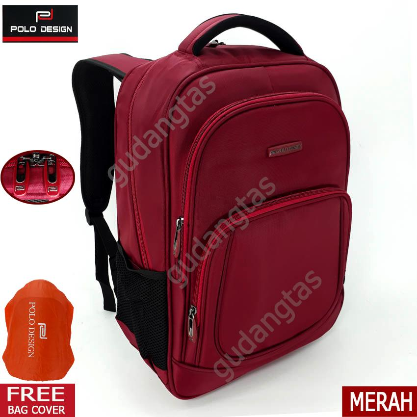 Polo Design Tas Ransel Backpack 18 Inchi 588601 laptop Merah Bonus Bag Cover Pria Wanita Kantor