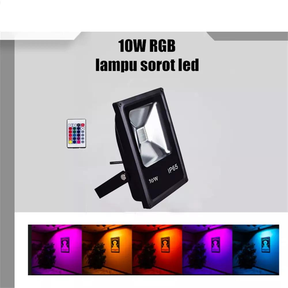 LAMPU SOROT LED 10W TEMBAK TAMAN FLOOD LIGHT OUTDOOR RGB
