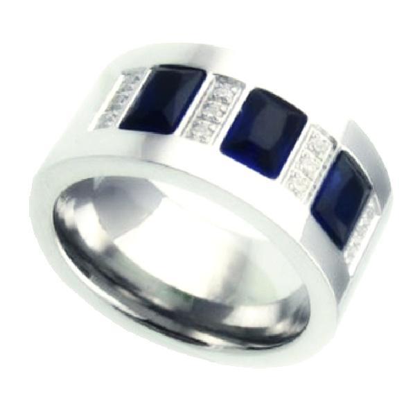 Diskon Promo Perhiasan Aksesoris Cincin Pria Blue Crystal Ring Titanium 316L Stainless Steel Murah
