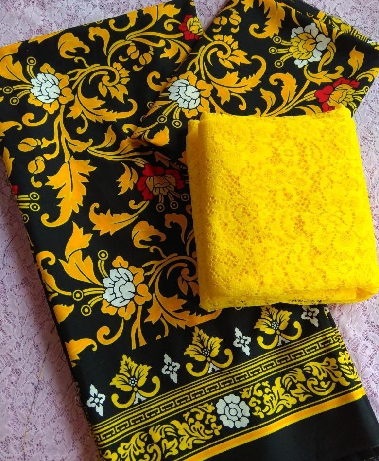 cherrykebaya - setelan kain satin COUPLE bali lembaran batik catur dan brokat lembaran bahan kebaya pengantin