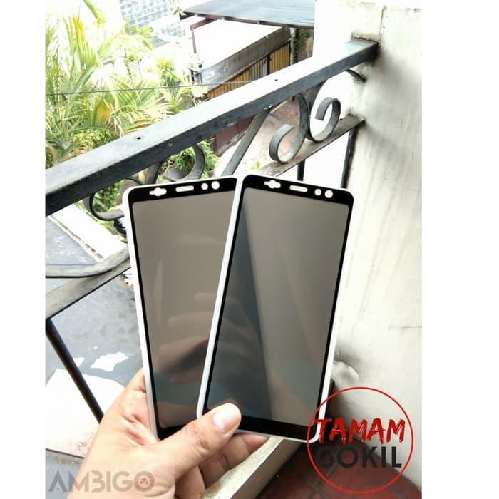 Samsung Galaxy A8+ A8 Plus 2018 Tempered Glass ANTI SPY Privacy 5D Ambigo Original - Hitam