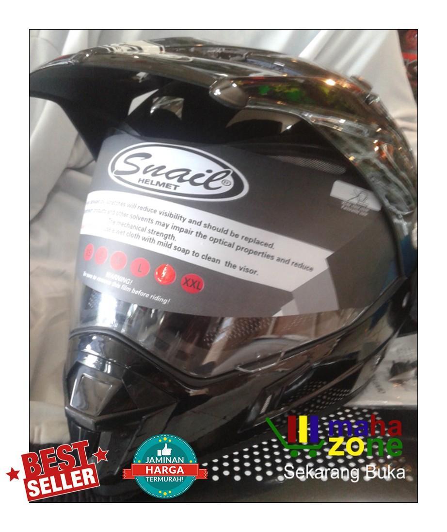 Snail Helmet Motocross Double Visor Mx 311 Hitam Dope Daftar Helm Supermoto Black Metalik