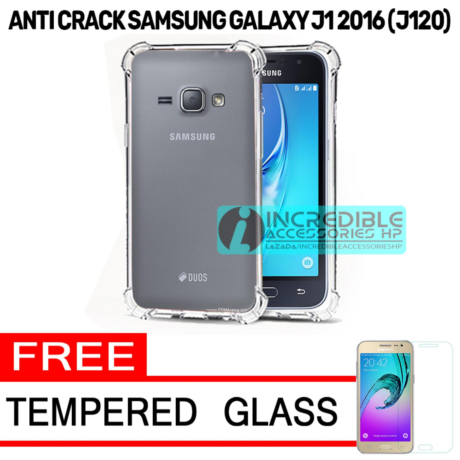 Case Anti Shock / Anti Crack Elegant Softcase  for Samsung Galaxy J1 2016 (J120) - White Clear + Free Tempered Glass