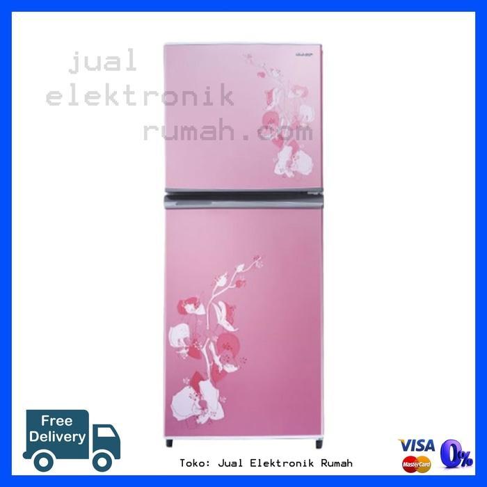 ORIGINAL - Kulkas Lemari Es 2 Pintu Bunga Sharp Cuci Gudang Free Ongkir Jakarta