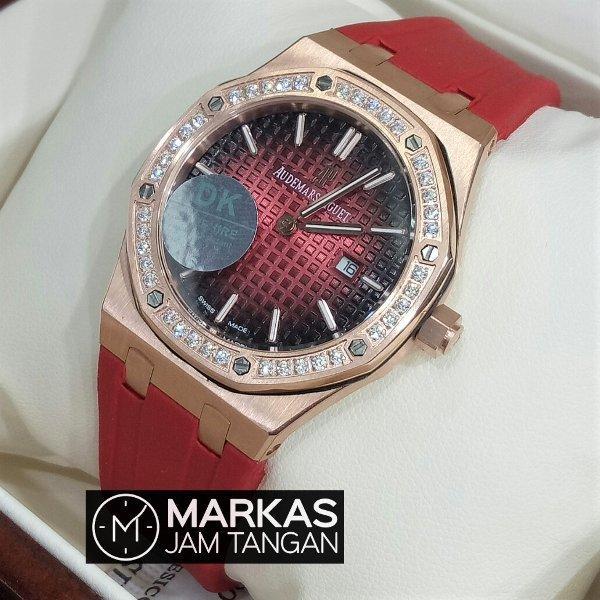 Jam Tangan Wanita Audemars Piguet AP Ladies Royal Oak Diamond Rubber Strap