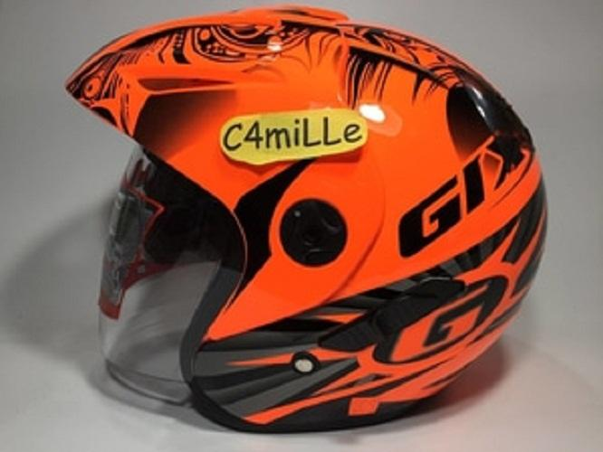 HELM GIX 207 DV EYE ORANGE STABILO DOUBLE VISOR HALF FACE MODEL INK