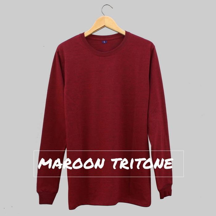 Baju Kaos Polos Lengan Panjang MAROON TRITONE Merah Marun Cewek Cowok