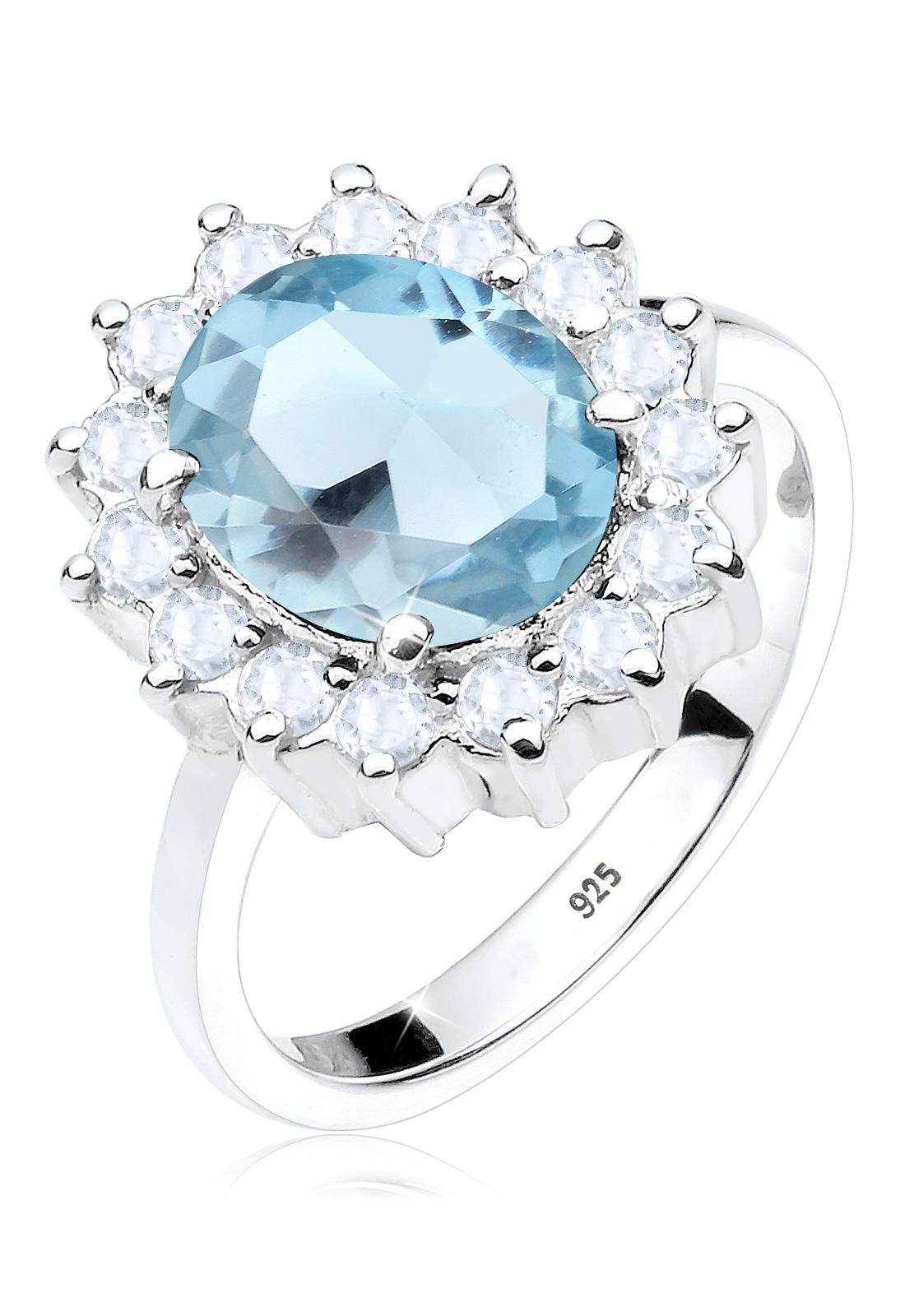 Elli Germany 925 Sterling Silver Cincin Glamour Blue Topaz Biru Muda