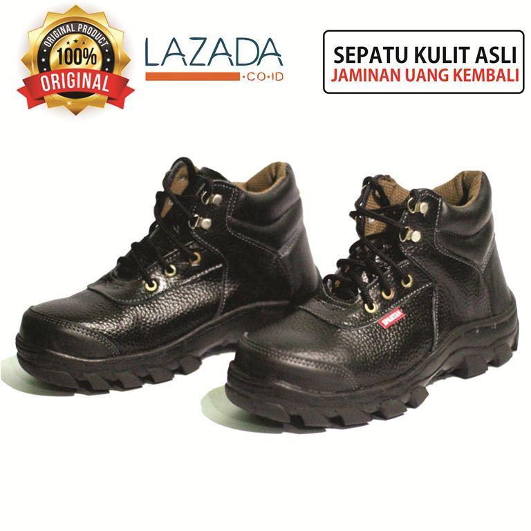 safety shoes pria safety boots safety jogger safety box safety hitam kulit sapi asli sepatu boot boots pria ankle boot kuat segala medan sudah dijahit solnya.