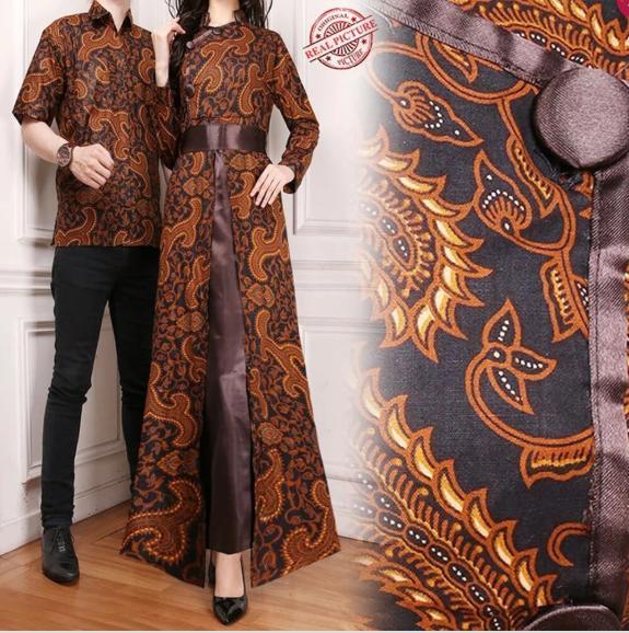 Grosir - Couple Gamis Maxi Dress Laluna Dan Kemeja Batik Pria