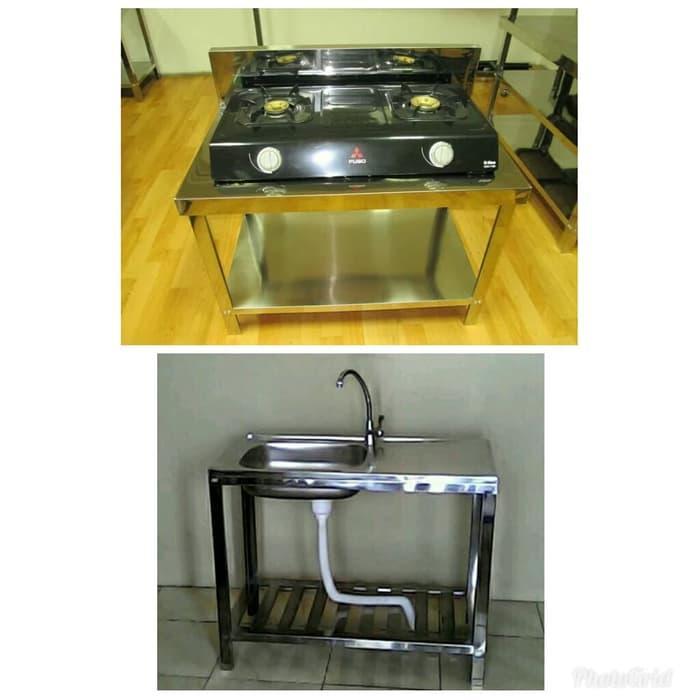 Hot Item!! Paket Meja Kompor Dan Bak Cuci Piring Plus Kran Pekanbaru - ready stock