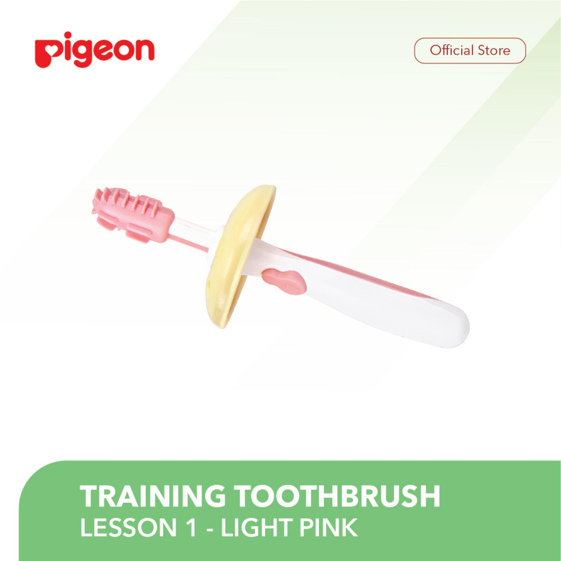 Pigeon Training Toothbrush Lesson 1 - Light Pink By Pigeon Indonesia.