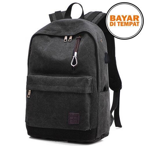 Rimas Tas Ransel Backpack Oxford Dengan USB Charger Port - Black / Hitam Tas Unik Cas Charger Charging Hp Handphone Samrtphone Unik Berkualitas