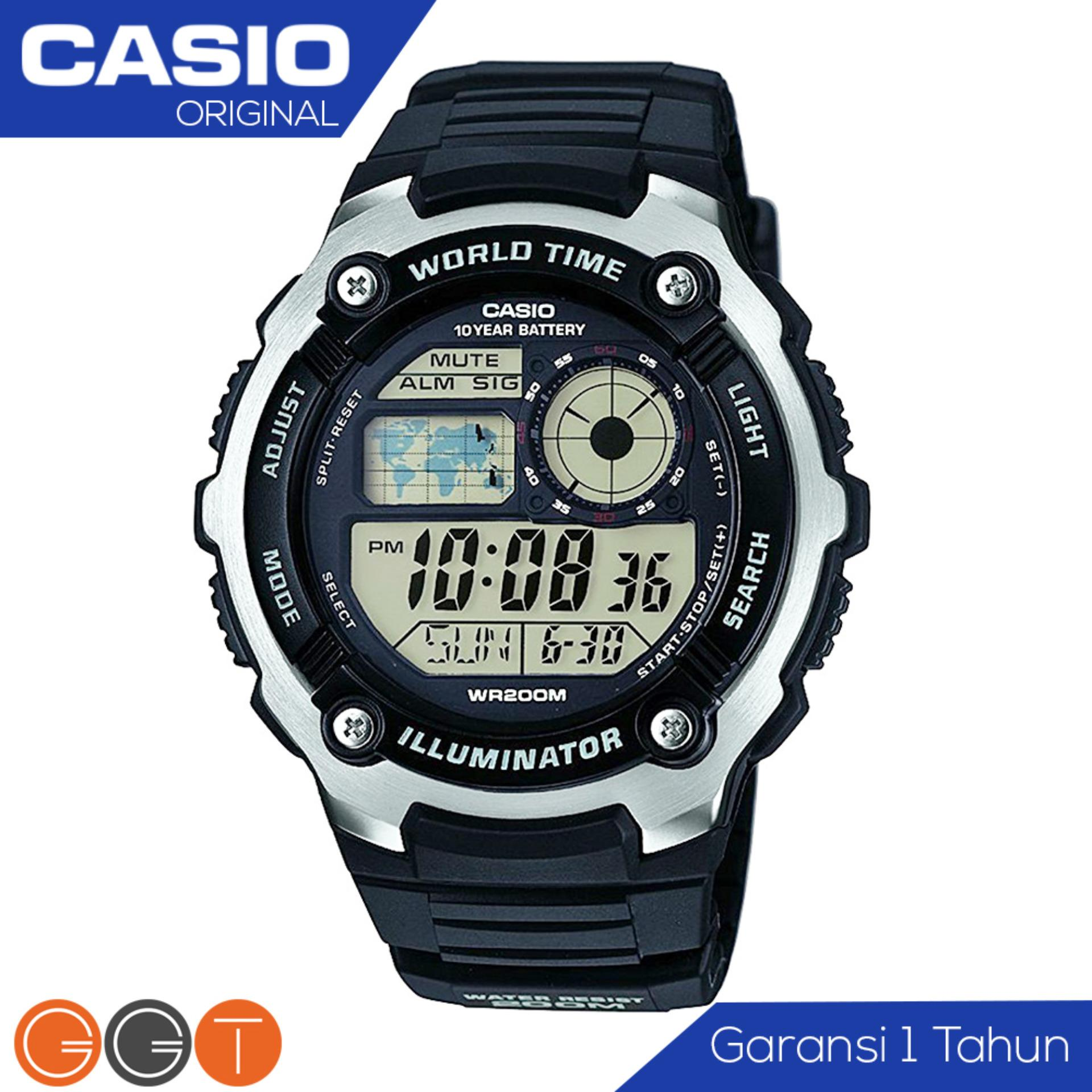 CASIO Illuminator AE-2100W-1AVDF - Jam Tangan Pria - Resin Strap - Digital Movement - Black
