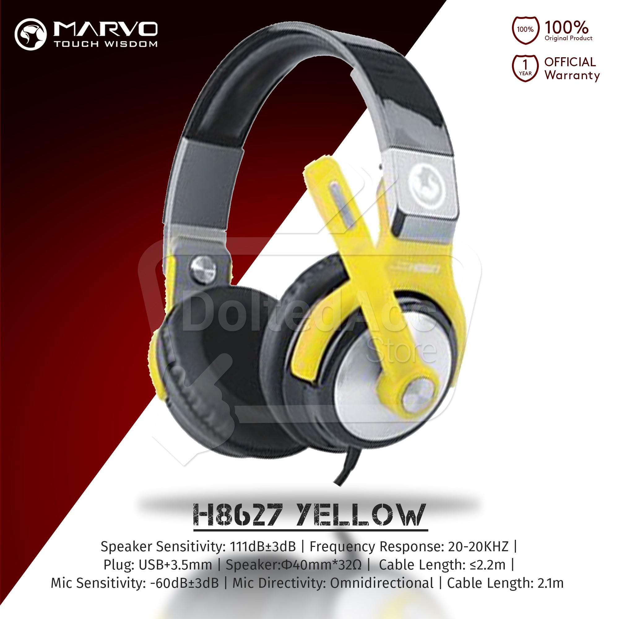 Marvo H8316 Gaming Headset Braided Cable Hitam Merah Daftar Harga Headphone H 8631 H8627 Yellow