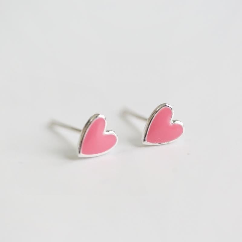 Jual Xiaomiren S925 lucu cinta merah muda soft sterling silver anting