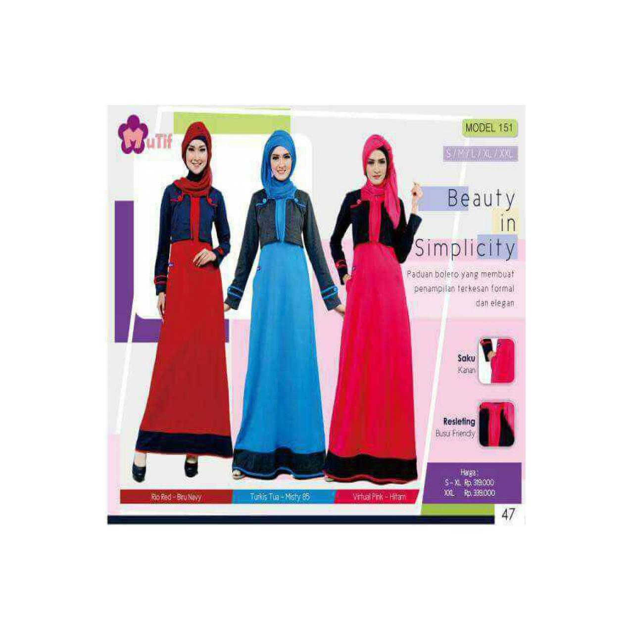 MAXI DRESS - MUTIF - M151 SMLXL - GAMIS MODEL BOLERO - DRESS MUSLIM