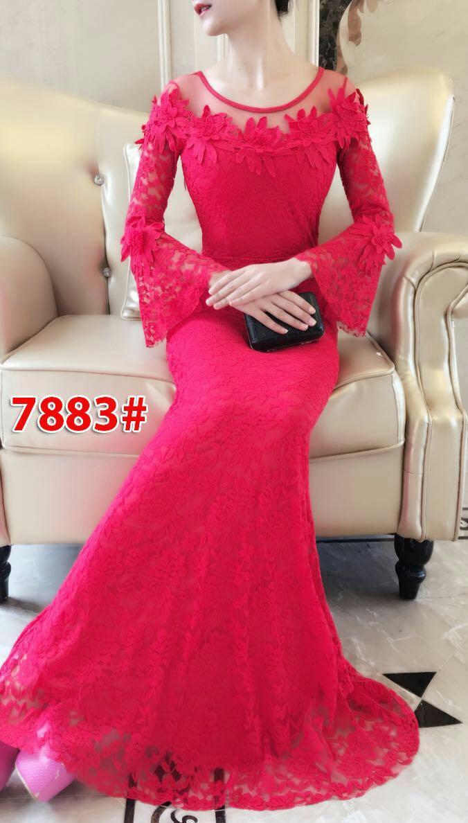 7883# baju pesta import  / gaun pesta import / baju pesta brokat / longdress fashion import
