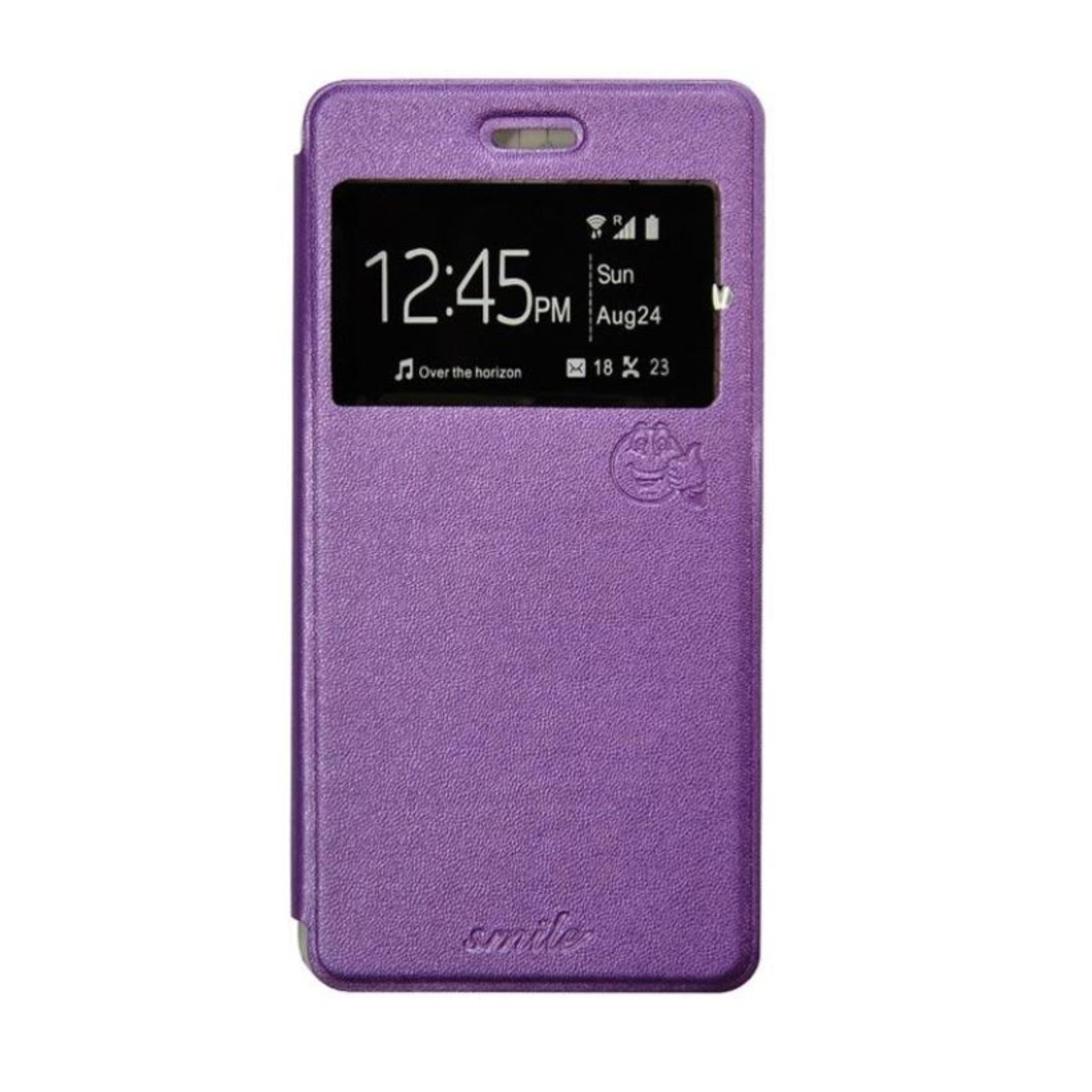 Aldora Case For Asus Zenfone 3 Max (5.5) / ZC553KL Flip Cover Case Dengan Pelindung Layar Smile Ser