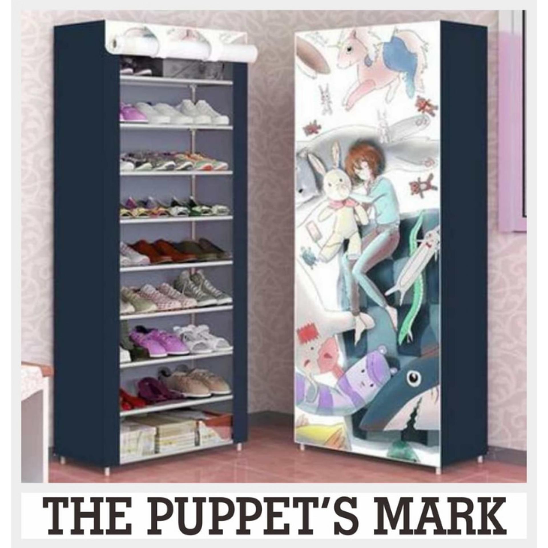 Lemari sepatu lemari portable lemari cantik lemari fortable lemari minimalis lemari mini 10 Susun 9 Rangka AK10 Puppet's Mark A416