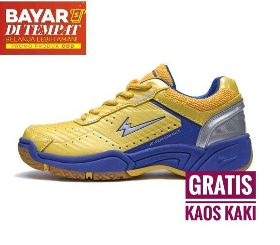 Eagle Premier Jr Sepatu Badminton Anak-Yellow/blue By Singh Store