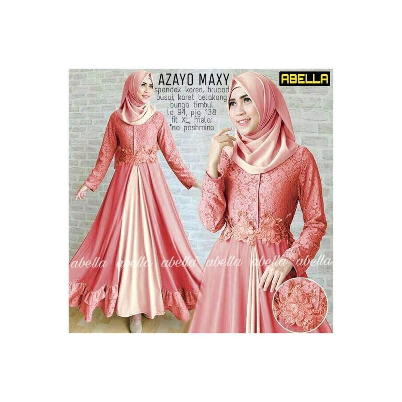 MURAH BANGET Baju Gamis Pesta Zoya Peach dan Mint Maxi dress