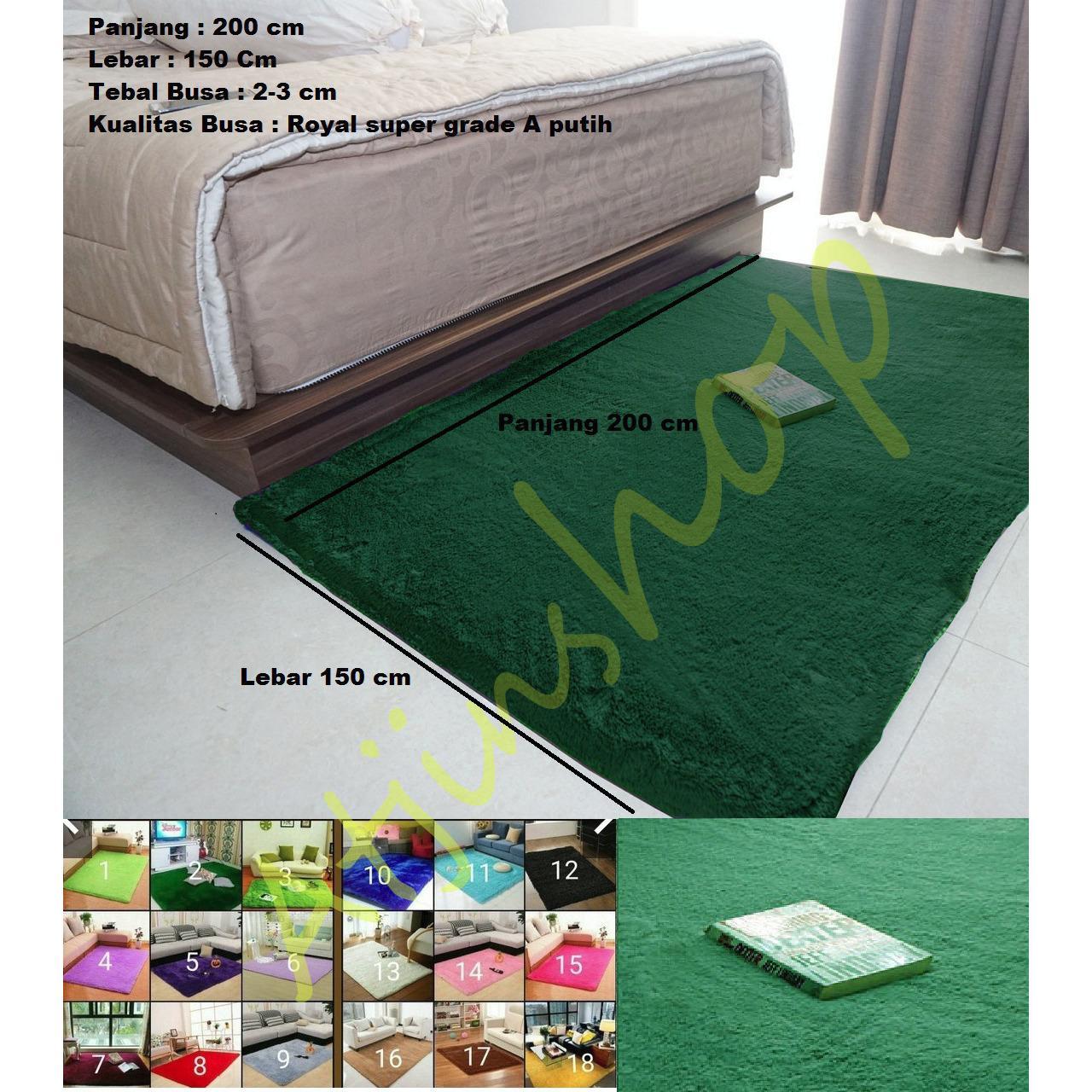 TjinCollection-Karpet Bulu Rasfur Lembut Busa Super Berkualitas 200 x 150 [HIJAU BOTOL]