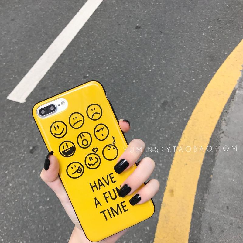 Gaya Korea Selubung Ponsel Imut Kuning Wajah Tersenyum Selubung Lunak Iphone7plus Bungkus Penuh