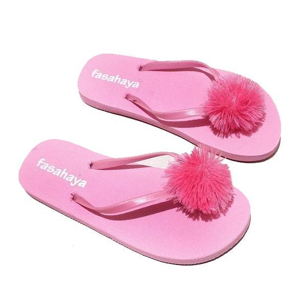 Fasahaya Sandal Pompom/ Sendal Pompom Wanita Jepit Spon Teplek Santai Cantik Terbaru Murah Meriah JPT02 Pink