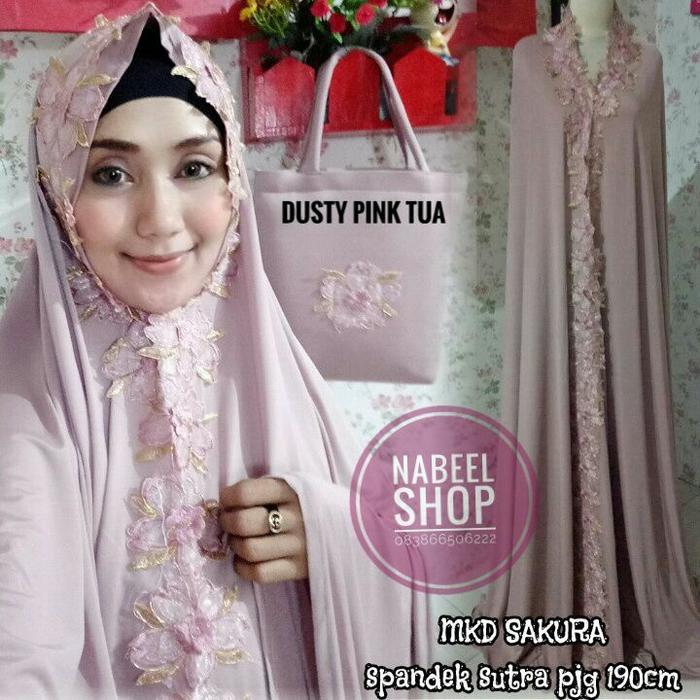 mukena-dubai-import-cantik-elegan-sakura-dusty-pink-tua-premium-murah DS